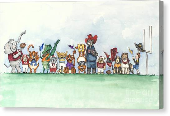 Sec Canvas Print - Sec Football Mascots - Sports Watercolor Print by Annie Laurie