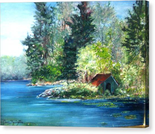 Secluded Boathouse-millsite Lake  Canvas Print