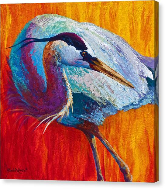 Heron Canvas Print - Second Glance - Great Blue Heron by Marion Rose