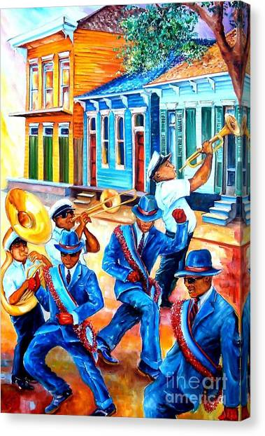Trombones Canvas Print - Second Line In Treme by Diane Millsap