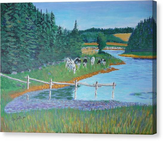 Second Peninsula Cows Canvas Print by Rae  Smith
