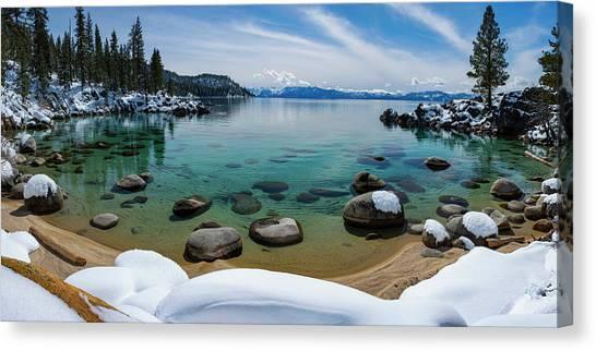 Lake Tahoe Canvas Print - Secret Cove Winter Panorama By Brad Scott by Brad Scott