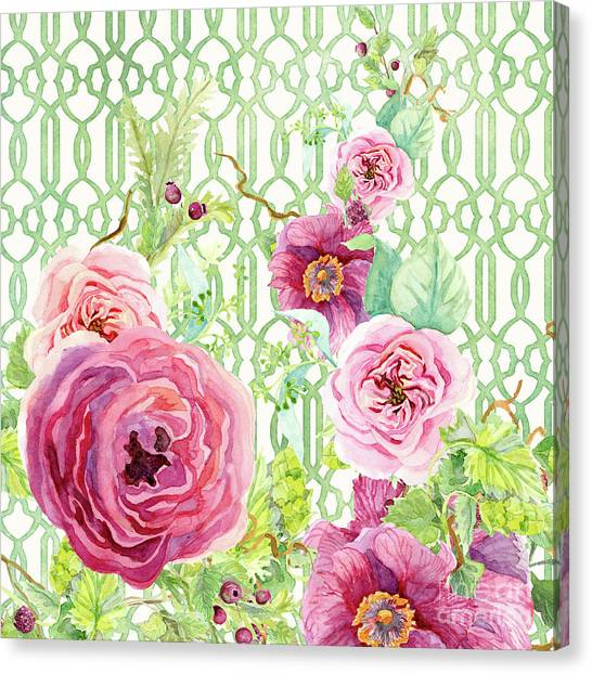 Wild Berries Canvas Print - Secret Garden 2 - Single Peony Fern Hops And Trellis by Audrey Jeanne Roberts