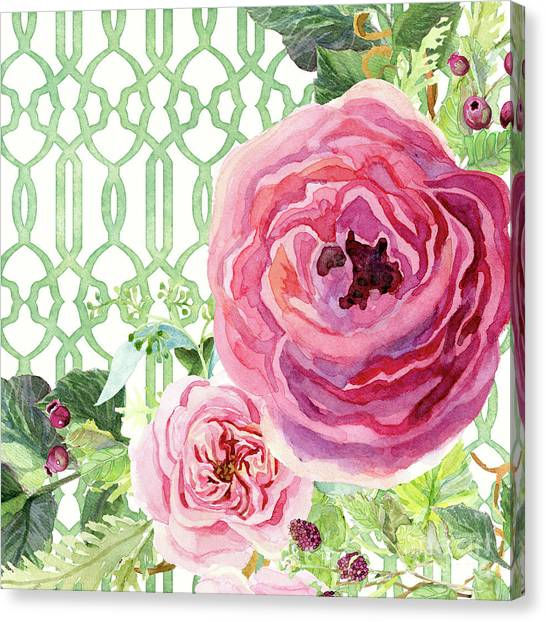 Wild Berries Canvas Print - Secret Garden 3 - Pink English Roses With Woodsy Fern, Wild Berries, Hops And Trellis by Audrey Jeanne Roberts
