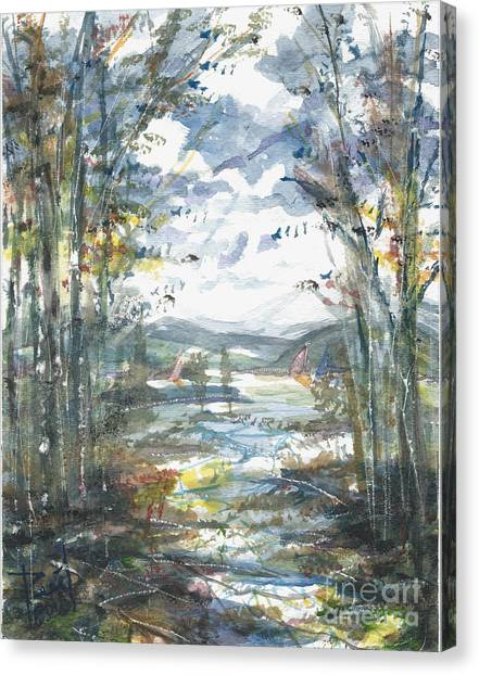 Canvas Print featuring the painting Secret Sailing Spot by Reed Novotny