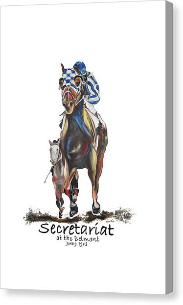 Secretariat At The Belmont Mural Canvas Print by Amanda  Sanford