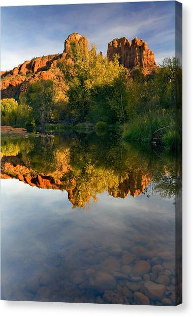 Reflections Canvas Print - Sedona Sunset by Mike  Dawson