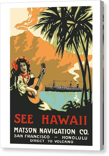 Ukuleles Canvas Print - See Hawaii Direct To Volcano Vintage Hawaiian Travel Poster by Retro Graphics