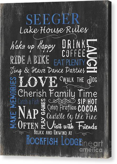 Vacation Canvas Print - Seeger Lake House Rules by Debbie DeWitt