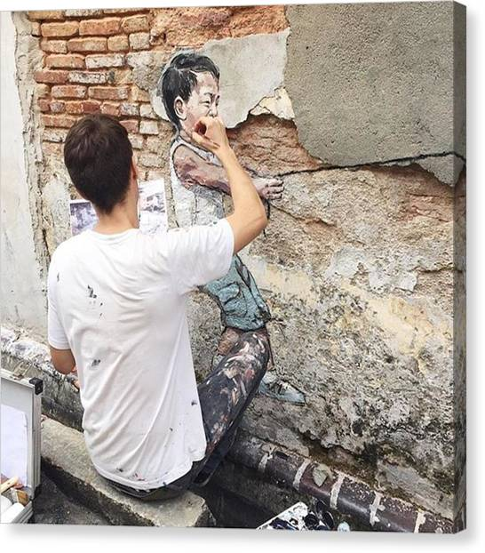 Graffiti Canvas Print - Seeing Ernest Zacharevic In Person Is by Ivy Ho