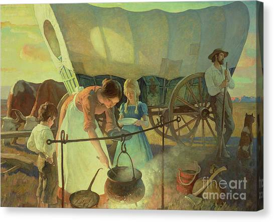 Axes Canvas Print - Seeking The New Home by Newell Convers Wyeth