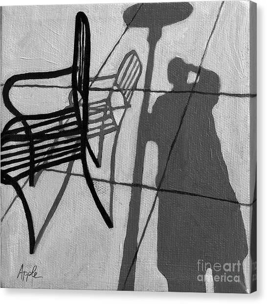 Self Portrait - Cafe Shadows Painting Canvas Print by Linda Apple