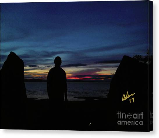 Rights Managed Images Canvas Print - Self Portrait 3 - Between The Stones With The Sun by Felipe Adan Lerma