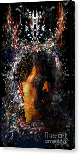 Canvas Print featuring the digital art Self Portrait With Aura by Reed Novotny