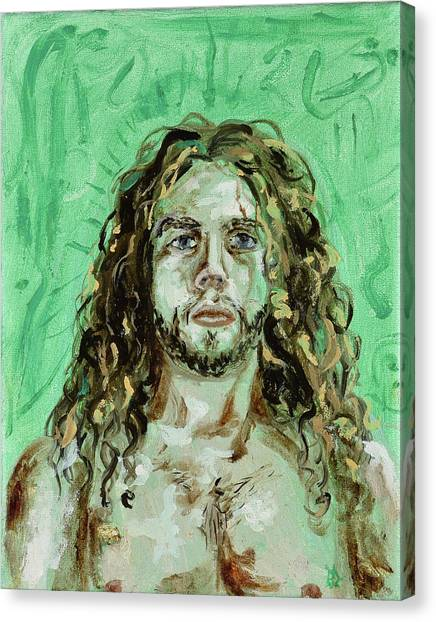 Self Portrait -with Emerald Green And Mummy Brown- Canvas Print