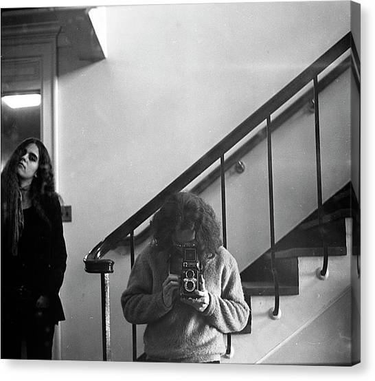 Self-portrait, With Woman, In Mirror, Cropped, 1972 Canvas Print