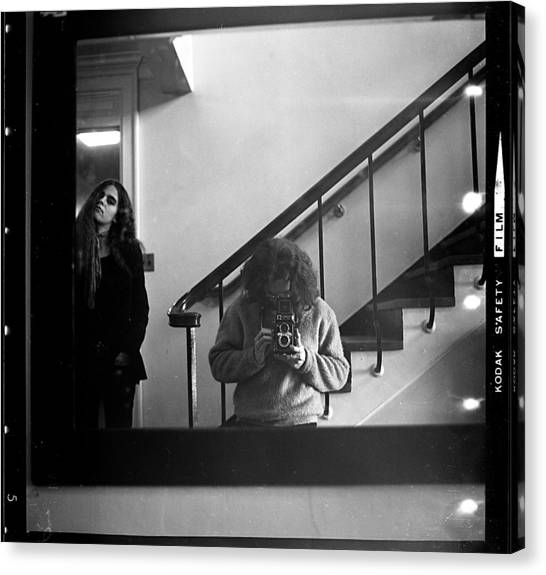 Self-portrait, With Woman, In Mirror, Full Frame, 1972 Canvas Print