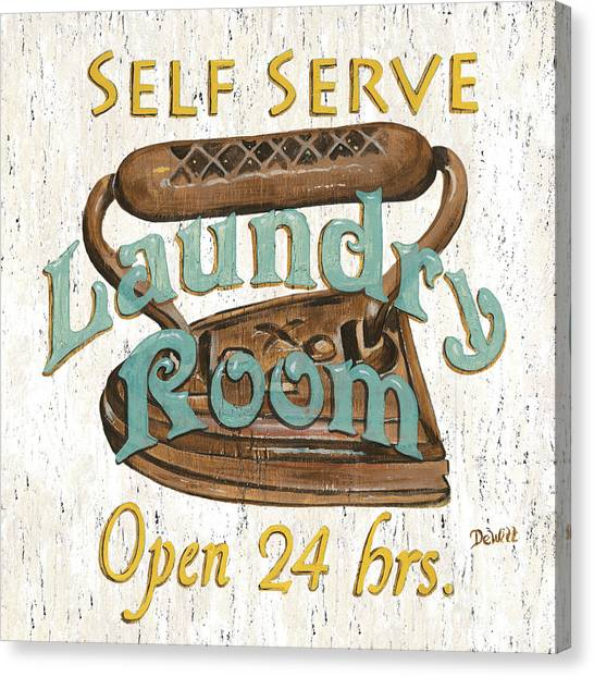 Laundry Canvas Print - Self Serve Laundry by Debbie DeWitt