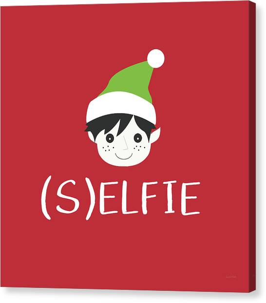 Christmas Art Canvas Print - Selfie Elf- Art By Linda Woods by Linda Woods
