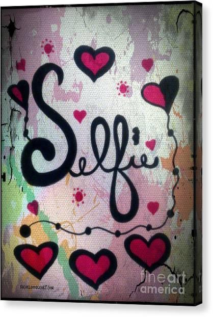 Canvas Print featuring the drawing Selfie by Rachel Maynard