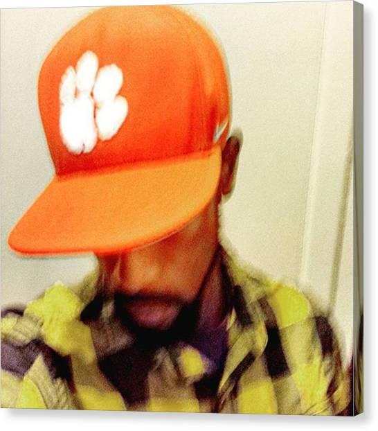 Flannel Canvas Print - #selfie #weekend #flannel #paw #tigers by Kazan Durante