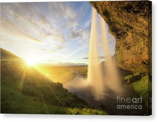 Seljalandsfoss Canvas Print - Seljalandsfoss Sunset by Ernesto Ruiz