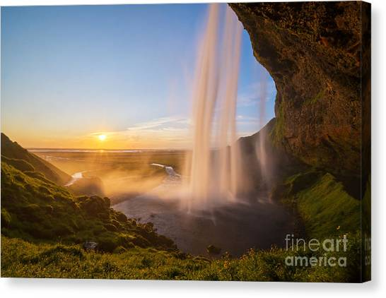 Seljalandsfoss Sunset Iceland Canvas Print
