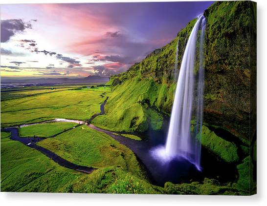 Waterfalls Canvas Print - Seljalandsfoss Waterfall by David Dehner