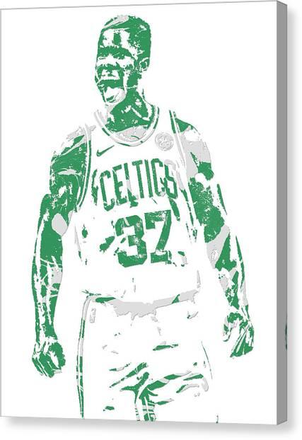 Boston Celtics Canvas Print - Semi Ojeleye Boston Celtics Pixel Art 1 by Joe Hamilton