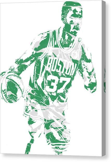 Boston Celtics Canvas Print - Semi Ojeleye Boston Celtics Pixel Art 2 by Joe Hamilton