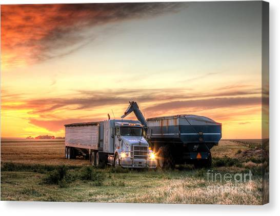 Carts Canvas Print - Semi Truck Unload by Thomas Zimmerman