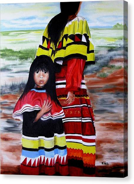 Seminole Mother And Child Canvas Print