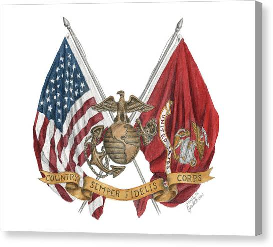 Semper Fidelis Crossed Flags Canvas Print