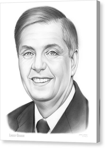 Republican Politicians Canvas Print - Senator Lindsey Graham by Greg Joens