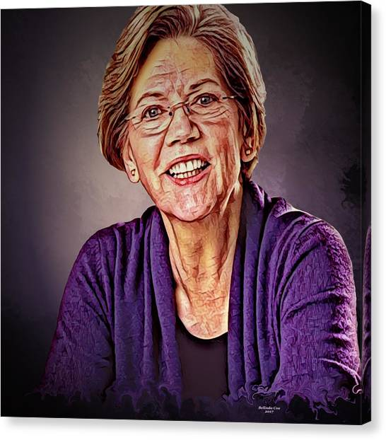 Elizabeth Warren Canvas Print - Senior Us Senator Elizabeth Warren by Artful Oasis