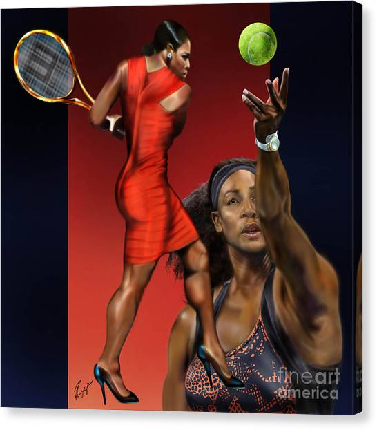 Serena Williams Canvas Print - Sensuality Under Extreme Power - Serena The Shape Of Things To Come by Reggie Duffie