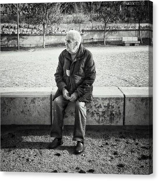 Madrid Canvas Print - Señor With His Leaf #blackandwhite by Rafa Rivas