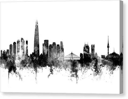 Korean Canvas Print - Seoul Skyline South Korea by Michael Tompsett