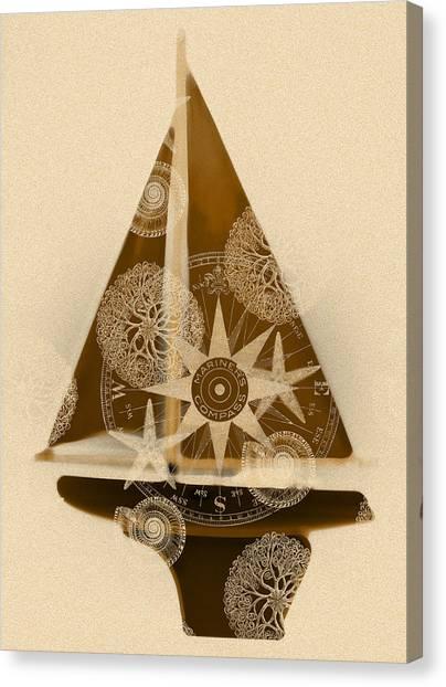 Sepia Boat Canvas Print by Frank Tschakert