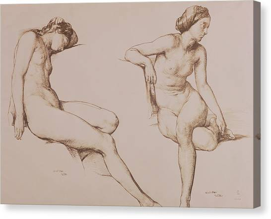 Female Canvas Print - Sepia Drawing Of Nude Woman by William Mulready
