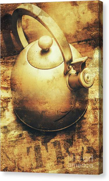 Sepia Toned Old Vintage Domed Kettle Canvas Print