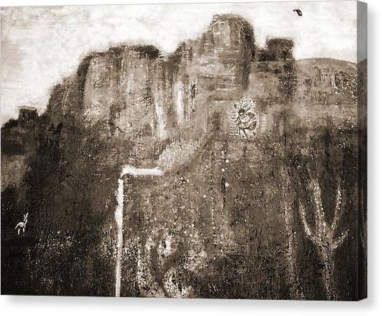 Sepia Version Of Mesa Painting Canvas Print by Anne-Elizabeth Whiteway