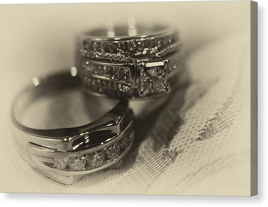 Sepia Wedding Ring Example Canvas Print by David Patterson
