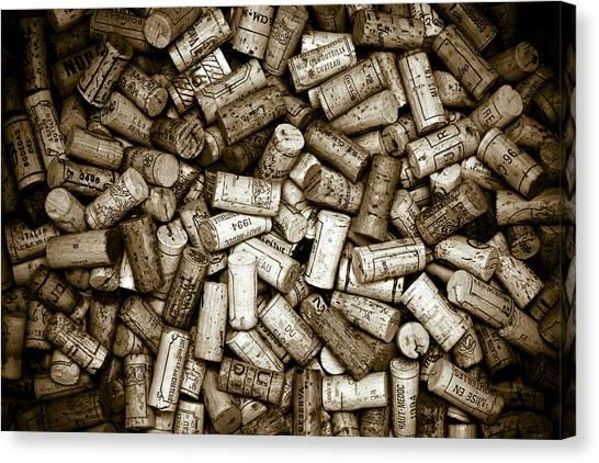 Bodega Canvas Print - Sepia Wine Corks by Frank Tschakert