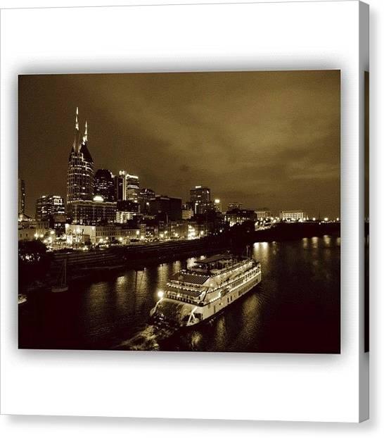 Skylines Canvas Print - #sepiasunday #nashville #nashville_tn by Robb Needham
