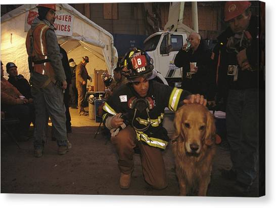 Salvation Army Canvas Print - September 11th Rescue Workers Receive by Ira Block