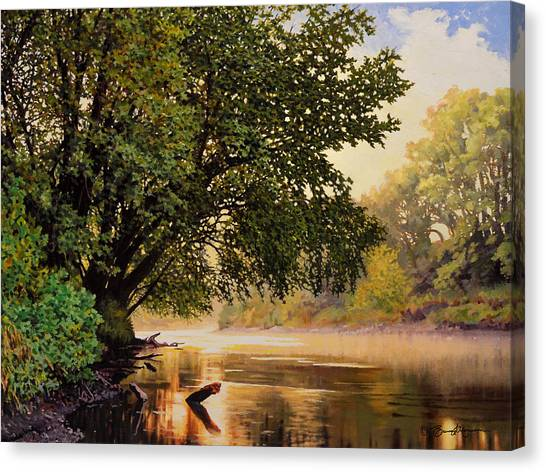September Dawn, Little Sioux River - Studio Painting Canvas Print