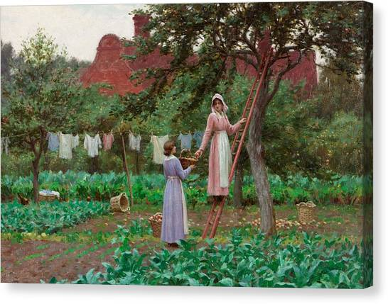 Girl In Landscape Canvas Print - September by Edmund Blair Leighton