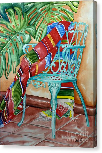 Serape On Wrought Iron Chair II Canvas Print