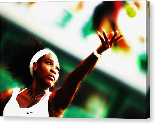 Maria Sharapova Canvas Print - Serena Beautiful Serve by Brian Reaves